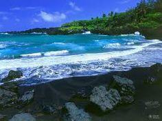 black sand beach maui - On the Road to Hana at Wai'anapanapa State Park