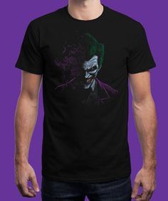 """""""The Arkham Joker"""" is today's £8/€10/$12 tee for 24 hours only on www.Qwertee.com Pin this for a chance to win a FREE TEE this weekend. Follow us on pinterest.com/qwertee for a second! Thanks:)"""