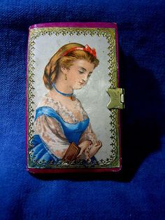 Victorian  Vintage Card Needle Case & Sewing Book with litho cover and Dresden trim; Circa 1870