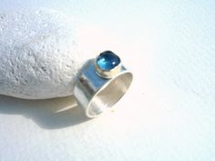 Sterling Silver ring with London Blue Topaz gemstone cabochon