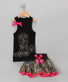 Black Boot Tank & Leopard Pettiskirt - Infant, Toddler & Girls by So Girly & Twirly on #zulily today!