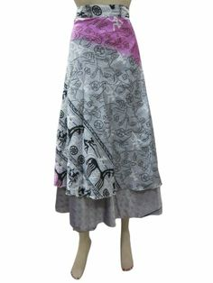 Womens Skirt Two Layer Gray Floral Printed Sari Wrapskirts Sarong Dress Mogul Interior,http://www.amazon.com/dp/B00H5KTDKQ/ref=cm_sw_r_pi_dp_oIZOsb0QAPGEGCQB