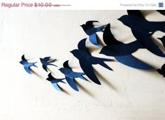 HALLOWEEN SALE Free  US Shipping 12 3D Bird Wall Art by LeeShay, $8.00