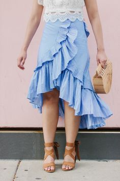 The Most Feminine Skirt and Statement Outfit,  ruffled tiered skirt and lace crop top