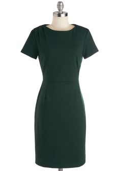 Stay For-evergreen Dress. Convey timeless sophistication in this evergreen sheath dress from Myrtlewood! #green #modcloth