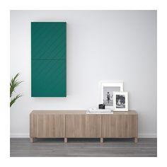 BESTÅ Wall cabinet with 2 doors - walnut effect light gray/Hallstavik blue-green - IKEA