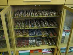 Glass cabinets for miniature figures.