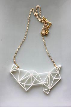 Geometric Necklace Modern Minimalist Triangle and Prism por iluxo
