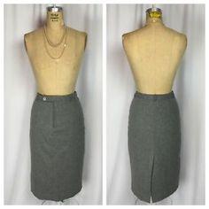 Ralph Lauren Charcoal Gray Wool Career Pencil Skirt. Size 4