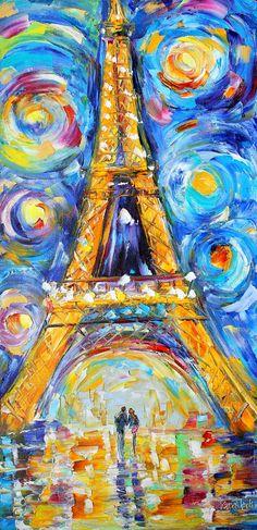 Original oil painting Paris Starry Sky Romance on canvas Landscape palette knife modern texture fine art impressionism by Karen Tarlton