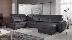 Elegantná sedacia súprava Inga 1 v tvare písmena U Corner Sofa Bed Leather, Black Corner Sofa, Corner Sofa Bed With Storage, Leather Sofa, Sofa Design, Couch L Form, Sofa Cama Clic Clac, Sofa Bed Dimensions, Canape D Angle Design