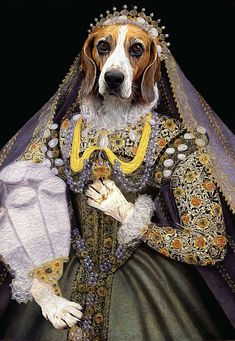 Queen Elizabeth - Custom Renaissance Pet Dog and Cat Portraits - Digital portrait painting using your Pet's Photo
