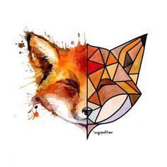 Try photo from magazine cut in half and draw/paint abstract representation for other half. Geometric Drawing, Geometric Art, Animal Drawings, Cute Drawings, Polygon Art, Tatoo Art, Fox Art, Cute Art, Art Inspo