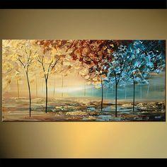 Paysage brun bleu couteau moderne abstrait acrylique peinture arbres fleurissant par Osnat - sur commande - 48 « x 24 » Plus