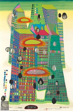 Artwork by Friedensreich Hundertwasser, Good Morning City--Bleeding Town, Made of Color screenprint with metal embossings