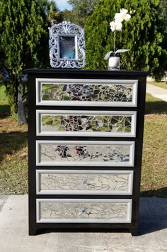 Mirrored mosaic tall dresser by LMODesignGroup on Etsy, $550.00