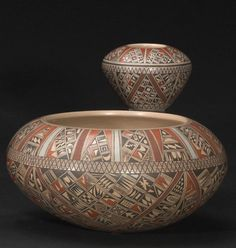 "Two Hopi polychrome vessels Rondina Huma, a bowl and a smaller seed jar, each decorated in the ""pottery shard"" style, within solid-color and crosshatched banded delineations. diameter 8 1/2 and 3 3/8in"