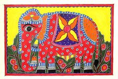 Colorful Madhubani Folk Art Painting of Indian Elephant - Festive Elephant | NOVICA