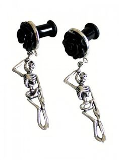"""""""Hanging Skeleton"""" Plugs by Fearless Plugs #inked #inkedshop #inkedmagazine #earings #jewelry #skeletons"""