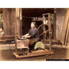 A photo of a woman reeling silk from T. Enami's collection of Japan life during the late 19th century and the beginning of the Meiji Restoration  #tenami #EnamiNobukuni #江南信國 #歴史 #日本 #幕府 #幕末 #将軍 #japan #japanesehistory #history #bakufu #bakumatsu #明治時代 #MeijiRestoration #日本史 #silk (by samurai_tamashii)