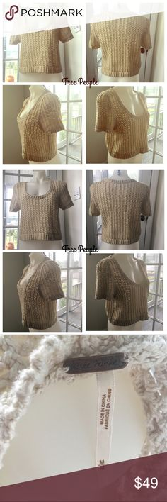 Free People Cropped Loose Kbit Short Sleeve Top Free People Short Sleeved Nude Cropped Sweater! Excellent Preowned Condition. Free People Sweaters Crew & Scoop Necks