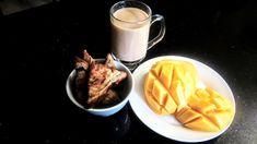 Keeping it simple for breakfast! Fruit toast, tea and fresh mango!