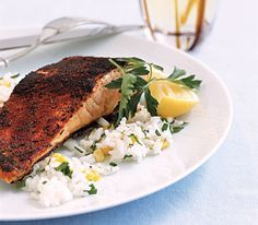 Blackened with cayenne pepper and paprika. This was delicious with brown rice with cinnamon and peach juice.