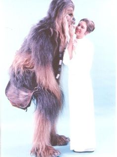 Peter Mayhew and Carrie Fisher - Chewbacca and Princess Leia.