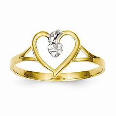 14k Rhodium Yellow Gold Cut-Out Heart Ring