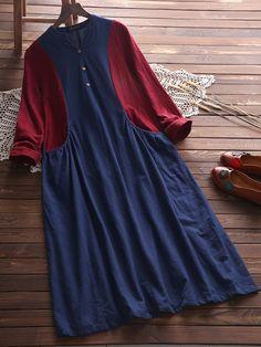 Vintage Stitching Color V-Neck Dress for Women