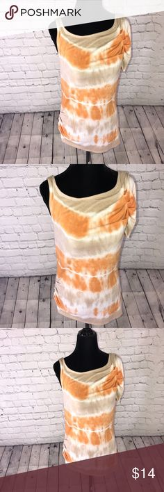 Gianni Bini shirt Tie-dyed Gianni Bini slight off the shoulder shirt  Left shoulder has a sexy ruffle  Length 27' Pit to pit 18' Car tag faded cotton spandex blend Gianni Bini Tops Tees - Short Sleeve
