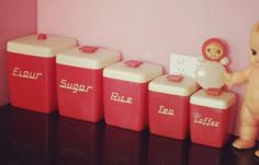retro vintage 1950s red and white Nally nallyware kitchen canisters plastic