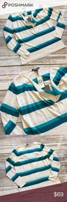 """NWT Tommy Bahama Striped Pullover Sweater NWT Tommy Bahama Striped Cowl Neck Pullover. Beautiful vibrant oatmeal and blue colors. Long sleeves. Can be layered for the cold weather or worn alone for a nice day. Made of viscose/wool blend. Measures pit to pit 21""""/ length 28"""" Tommy Bahama Sweaters"""