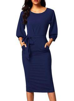Blue Puff Sleeve Belt Knee-Length Chiffon Pencil Dress - (US Camisa Formal, Dresses For Work, Dresses With Sleeves, Chiffon Dresses, Petite Dresses, Work Attire, Pencil Dress, Women's Fashion Dresses, Xl Fashion