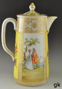 Gorgeous Antique Dresden Porcelain Tea Pot Yellow & Gilded Courting Motif Floral
