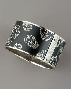 Large Enamel Skull Bangle, Black by Alexander McQueen at Bergdorf Goodman.