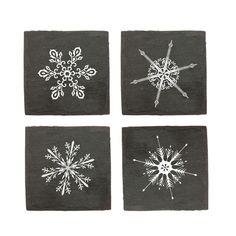 Snowy Slate Coasters - Set of 4 | dotandbo.com