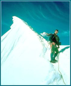 Kinloss MRT ~ Bob Anderson on a traverse of the Petit Charmoz, Mont Blanc massif.  Photo by Tom MacDonald, JSAM 1977.