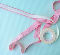 vellum tape plus ribbon  ...great idea for all the bits of lace I have