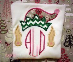 Girl Elf Monogrammed Applique Shirt by NoOdLeSBoutique on Etsy, $18.00