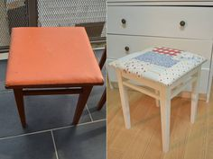 Old chair brought to life with white paint and new fabric - Before and after Furniture Restoration, White Paints, Diy Stuff, Vanity Bench, Shabby Chic, Diy Projects, Chair, Fabric, Life
