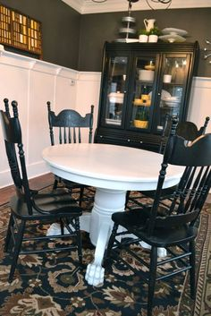French Shabby White Round Table With Graphic And Black Spindle Glamorous Restoring Dining Room Table Decorating Inspiration
