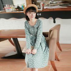 Fall 2015 Women Sen female line art small fresh maple leaf cotton doll collar long-sleeved dress in long skirts - Taobao