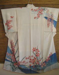 ART Japanese Vintage Silk Kimono, Red Pink Orchids Cream Silk Kimono,Gold Hilites Pink Iris Vintage Japanese Silk Kimono,Silk Homongi Kimono