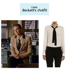 "May 1, 2014 @ 7:23 pm Stana Katic as Detective Kate Beckett in Castle - ""Law & Boarder"" (Ep. 621). I'm not 100% positive, but it looks like Beckett is wearing this top. Perhaps the buttons on the collar were added by the costume department. Kate's Blouse:Theory Icon Tie Front Shirt $275 here 