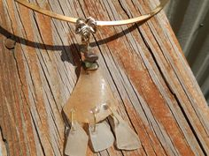 Sea Glass Yellowish Brown Pendant or Slide with by Deesshoppe, $15.00