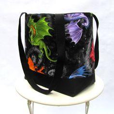 Dragon tote bag shoulder bag orange green blue Daenerys black   Patchtique - Bags & Purses on ArtFire