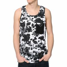 Cool off when the weather peaks in the LRG Heavy Breakage black pocket tank top. Keep your phone safe in the button up left chest pocket on a black and white floral bird print colorway with a tagless design so you can lounge at the beach in comfort with t