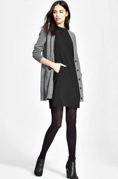 For Cold to Hot classic dress and cardigan - Outfits for Work Business Casual Outfits, Office Outfits, Business Fashion, Work Outfits, Business Travel Outfits, Business Clothes, Outfit Work, Cardigan Outfits, Dress With Cardigan