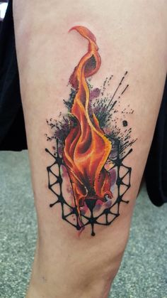 Tattoos!!! — tattoos-now: Flame with Watercolor Background...